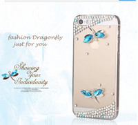 Wholesale Diamond Dragonfly Rhinestone Cell Phone Protective Cover Case For iphone s c Iphone s PC Transparent Hard Case