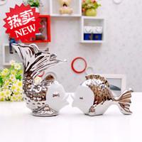Wholesale Jingdezhen ceramics kissing fish home decoration crafts furnishings indoor living room furniture ornaments study