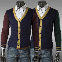 apparel knitted sweater casual - 2014 Hot sell autumn sweaters casual shirt cardigan men fashion mens sweaters Patchwork knitting sweater apparel