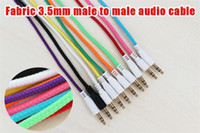 Wholesale 500pcs to Male to Male Candy Color Braided Fabric Car Aux Audio Cable for iphone cellphone