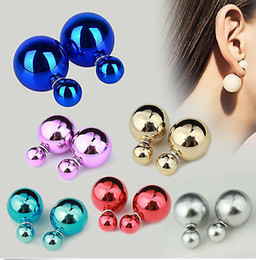 Wholesale New Arrival pairs Korea Style Gold Plated Alloy Double Pearls Ear Stud Earrings Hot Sale JE06246