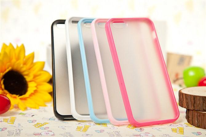 Buy Promotion!Slim TPU+PC Transparent Clear Matte Frosted Colorful Hard Back Case Cover Shell Skin iPhone 5 5G 5S 4 4S Frree Shipping