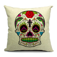 Eco Friendly Cotton Yarn Dyed HOT SALE Cotton Square Cushion Cover Colorful Skull Waist Pillow Case Bed Room Boster Case EHE13-3