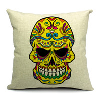 Eco Friendly Cotton Yarn Dyed HOT SALE Cotton Square Cushion Cover Yellow Skull Waist Pillow Case Bed Room Boster Case EHE13-4