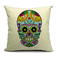 Eco Friendly Cotton Yarn Dyed HOT SALE Cotton Square Cushion Cover Colorful Skull Pattern Waist Pillow Case Bed Room Boster Case EHE13-2