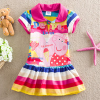 TuTu Summer A-Line Free Shipping!2014 Hot Selling Peppa Pig Dress Summer Carton baby Girl Dress Printing Stripe Cotton Cute Girl Clothes vestidos de menina