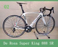 Wholesale De Rosa Super King SR Bike Frameset White silver Road Racing Bike Frame T800 Carbon Fiber Bike Seatpost Clamp Headset Fork
