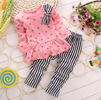 Girl Spring / Autumn Long 2014 Autumn clothing new style korean girls outfits snowflake bowknot long sleeve clothes + pants 2pcs children suit baby kids sets SM278