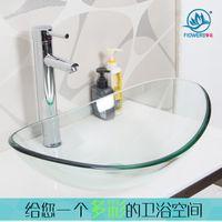 Wholesale Glass basin wash basin counter basin Rectangular Transparent