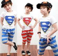Wholesale quot Super quot Shirts T Shirts Pants Outfit Set Tops Boys Kids Baby Sportwears New y
