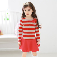 Wholesale 40336143987 Spring Kids Clothing children baby new cotton girls long sleeved dress Korean version of casual stripes