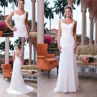 Wholesale White Court train Chiffon Beach Wedding dresses Appliques Ruched Sheath Column Wedding gowns Custom made Cheapest