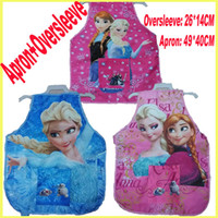 Waist kids aprons - Frozen Suits Aprons Oversleeves Kids Cooking Art Painting Smock Apron Children Aprons Oversleeves GZ GD3