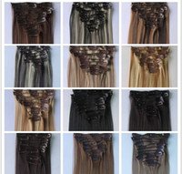 Wholesale 120g colors cm set Japan High Temperature Fiber Clip in Hair Extensions Straight Hair Extension