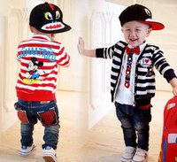 Jackets Boy Spring / Autumn Autumn Children Kids Boys Clothes Cotton Mickey Mice Stripes Swwater Jackets Cardigan Coat Overcoat Causal Outwear Black Red Clothes J1132