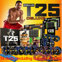 Cheap T25 14 DVD Shaun T Focus Fitness Tutorial T25 Workout Alpha Beta Core With Resistance Band hot Factory Sealed Keeping Fit For Health