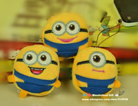 Unisex 0-12 Months Video Games Wholesale-OP- 3pcs set Despicable ME 2 minions mobile screen cleaner wiper key chain ring kids toys Christmas gift minion toy