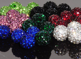 Wholesale 500pcs mm can choose color mix Micro Pave CZ Disco Crystal Shamballa Bead Bracelet Necklace Beads good lowe price
