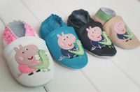 Wholesale Hot Sale Peppa Pig Genuine Leather Lovely Baby Prewalker Soft Sole Infant toddler shoes M Learning Walk Shoes pair