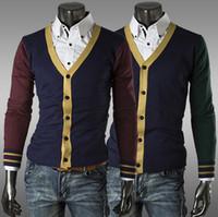 achat en gros de cardigan xxl mens tricot-Les hommes chauds de cardigan de chemise de chandails tricotés d'automne de vente chausse les hommes de mode de chandails de patchwork de tricot de chandail d'habillement Livraison gratuite