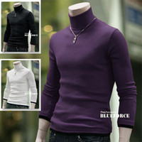 Wholesale Mens Fashion New European Autumn Winter Sweater Likt Two Men s Slim High Collar With Button knitting shirt Men Pullovers Sweater
