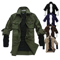 chaqueta silm fit al por mayor-Nuevas chaquetas coreanas del hombre de la manera Muchos bolsillos Frock capa Silm Fit Autumn Spring OverCoat Causal Men JacketsOverWare Quality