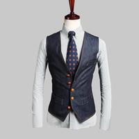 al por mayor pantalones vaqueros delgados hombres del estilo de ajuste-Nueva moda Inglaterra estilo hombre Noble chaleco botón Slim Fit manga hombres traje chaleco camiseta cerveza masculina jeans colete masculino