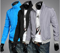 Wholesale Fashion Man Jackets Stand Collar Causal Sample Slim Fit Overcoat Thin Rib sleeve Solid Color Man Spring Autumn Jackets OutWare