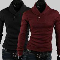Wholesale Mens Fashion New European Autumn Winter Sweater Men s Slim Turn Down Collar With Button knitting shirt Men Pullovers Sweater
