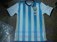 Wholesale A New Thai Argentina Futbol SOCCER Jersey Player Version Custom Messi Tevez Di Maria Aguero Silva Factory Price