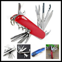 Wholesale 2014 New Multifunctional Swiss Camping Hunting Army Folding Knife Rescue Tools Outdoor Survival Switzerland Red Saber knife