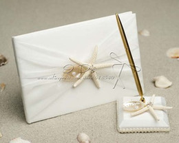 Wholesale Starfish Sea Shell Beach Themed Wedding Guest Book and Pen Set