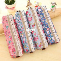 Wholesale Girls Flower Lace Foral Dot Pencil Case Pen Bag Purse Cosmetic Makeup Pouch E701