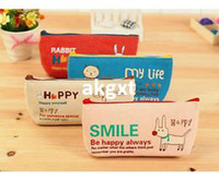 Wholesale New Sweet Students Canvas Animal Pencil Case Women Gril apos s Cosmetic Purse Bag E701