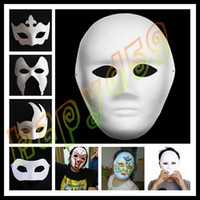 Wholesale DIY mask hand painted Halloween white face mask Zorro Pumpkin crown butterfly blank paper mask masquerade cosplay mask draw party mask props