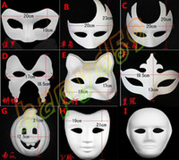Wholesale new DIY mask hand painted Halloween white face mask Zorro crown butterfly blank paper mask masquerade cosplay mask draw party mask props