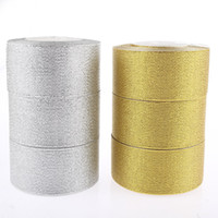 Wholesale mm silver and gold Glitter Ribbon yard roll Yards belt gift packing wedding decoration
