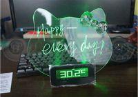 Digital led message board - hello Kitty Message Board Clock Alarm LED Clock big screen romantic fluorescence lazy mute Alarm clock
