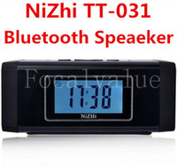 Wholesale NiZhi TT Mini Portable Bluetooth Wireless Music Player Digital Speaker With TF Card FM Radio Alarm Clock LED Screen Speakers