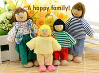 Unisex Birth-12 months Wooden 2014 New Baby Kids Colorful Happy Family Members Wooden Jointed Doll Child Learning Education Story-telling Toys Free Shipping