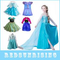 TuTu Summer A-Line 1pc Frozen Dress Elsa Anna For Girl Princess Cosplay Party Dresses Cartoon Red Cape Brand Girls Children Clothes Kids Drop Shipping