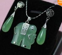 Bracelet,Earrings & Necklace Party party wigs Beautiful! green jade elephant Jewellery necklace Pendant earring