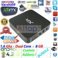 Wholesale MX MX2 Android Dual Core IPTV Box Original XBMC Midnight MX G RAM G ROM WiFi XBMC Gotham Fully Loaded Google TV Box