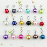 Wholesale mixed colors NEW Floating pearl DANGLES for Living Locket Necklace Charm Jewelry floating charms PD020