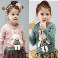 Wholesale Autumn Myfashion Girls T shirts Cartoon Bunny Long Sleeve T shirts