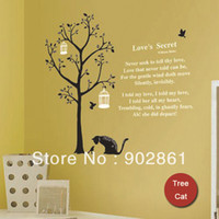 Wholesale funlife x80cm x32in PVC modern a black cat chat with bird big tree house Poem love words wall sticker