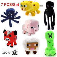 Wholesale 7Pcs Genuine JJ dolls stuffed plush Minecraft Creeper Coolie Enderman creeper Mooshroom sheep squid cow pink doll pig EMS