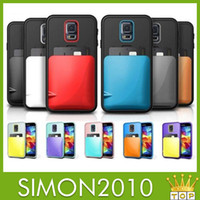 Wholesale Verus Korean design case Candy color card holder DAMDA Hard Case with bag for ID bank card on back for samsung galaxy s5 i9600 Fashionable