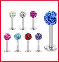 cz gems - OP piercing L24 mix colors shamballa ball CZ gem disco mm body jewelry lip ring labret piercing
