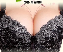 Wholesale Body Shaper Plus Size Women s Bras Embroidery Underwear Push Up Three Quarters Cup BC BC BC BC Convertible Straps Five Hook and eye